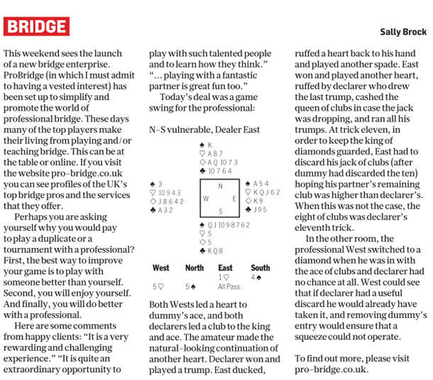 Sunday Times Article May 4th - ProBridge